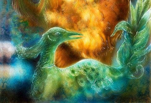 Абстрактная живопись с изумрудной жар-птицей