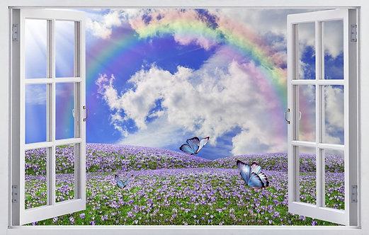 Вид из открытого окна на цветочный луг с радугой и бабочками