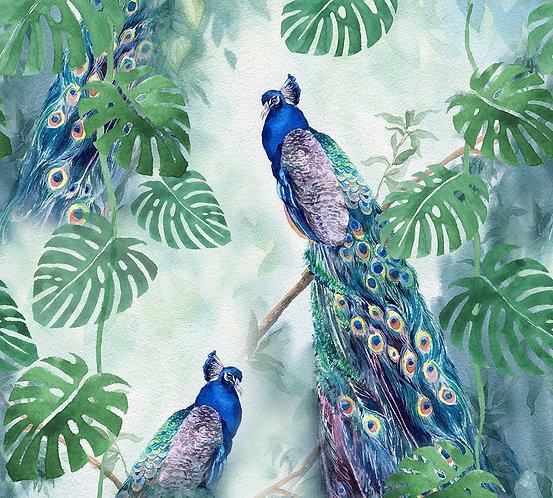 Павлины в тропическом лесу. Акварель