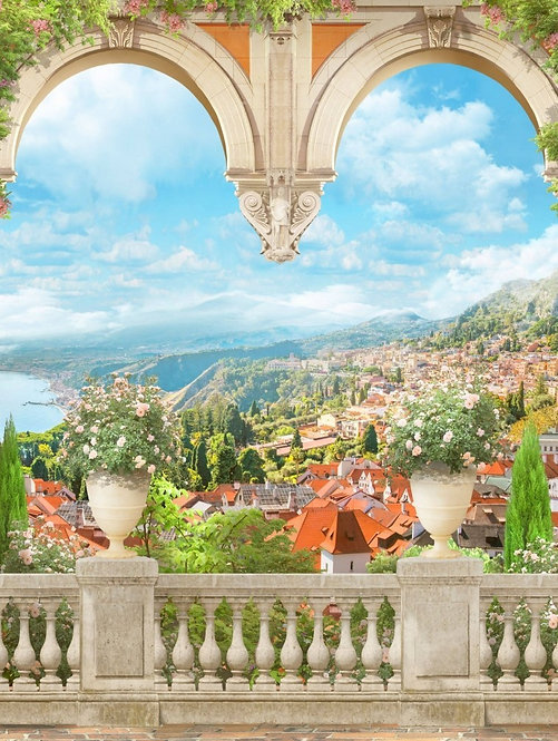 Арка с балюстрадой. Оранжевые розы. Вид на Дубровник