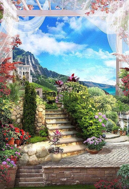 Фотообои. Фрески. Картины. Цветущий сад. Каменная лестница. Морской пейзаж
