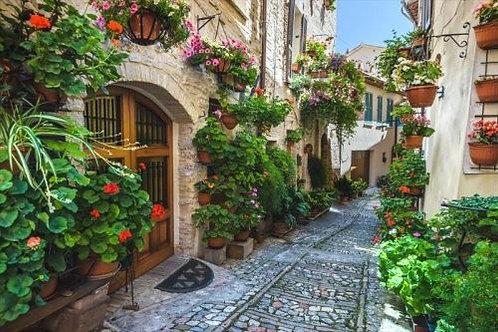 Укромная улочка с цветами в Спелло - Италия