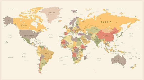 Разноцветная карта мира с названиями стран и крупных городов