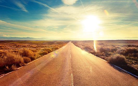 Фотообои. Фрески. Картины. Дорога. Пустыня. Закат. Перспектива. Природа. Пейзаж