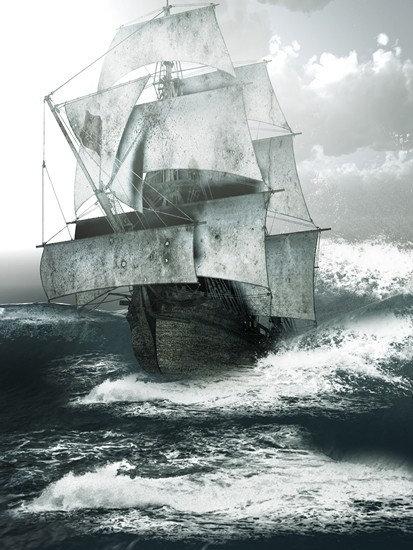Старый парусный корабль плывет по бурным морям