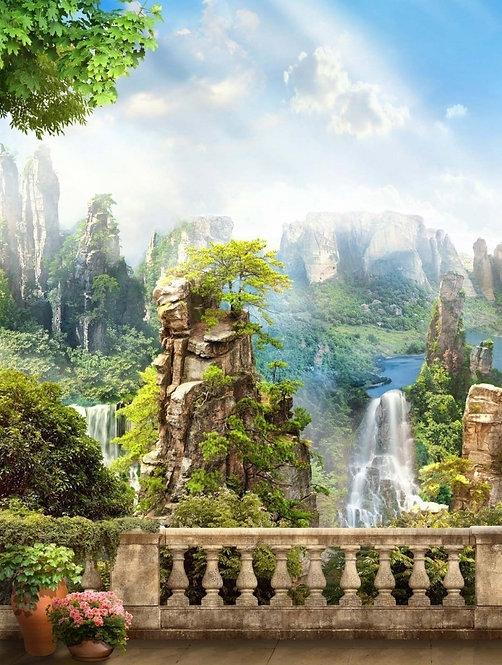 Фреска. Балкон. Терраса. Цветы. Балюстрада. Вид на горы и водопады