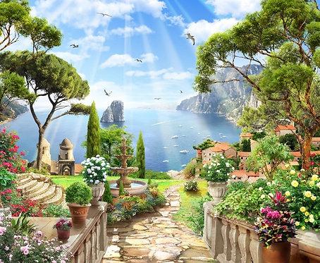 Фреска. Сад. Дорожка. Старый город. Балюстрада. Фонтан. Цветы. Вид на море