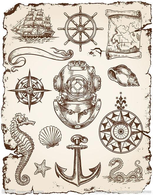 Композиция из морских артефактов в ретро-стиле