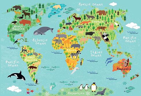 Детская карта мира с животными и названиями материков и океанов