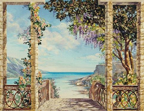 Графический пейзаж с видом на море с террасы