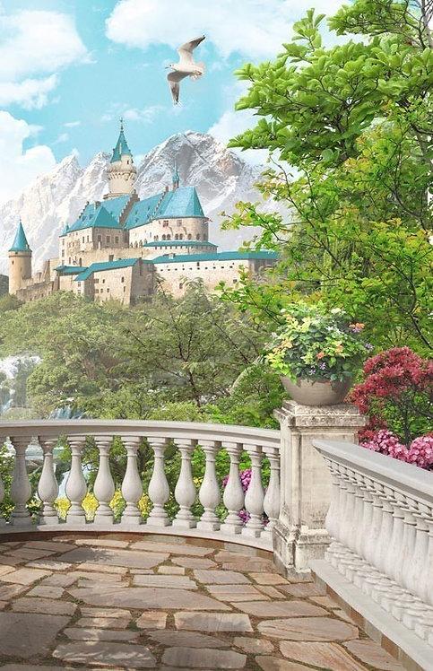 Фреска. Балкон. Терраса. Балюстрада. Цветы. Чайки. Вид на горный замок