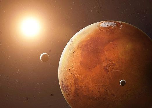 Фотообои. Фрески. Картины. Космос. Планеты. Марс и Луны
