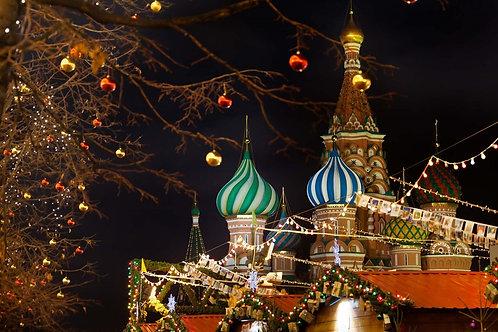 Храм Василия Блаженного в канун Рождества