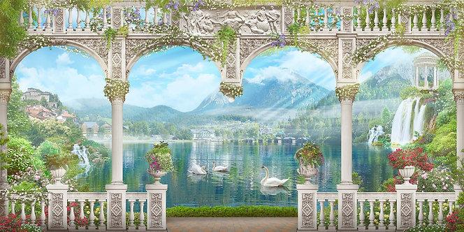 Фреска. Арки. Цветы. Балюстрада. Озеро. Лебеди. Вид на горы