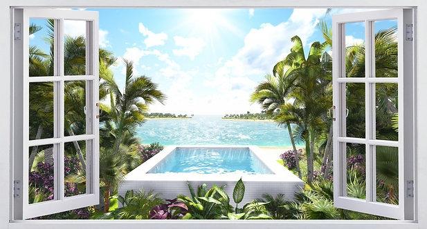 Вид из открытого окна на бассейн и океан