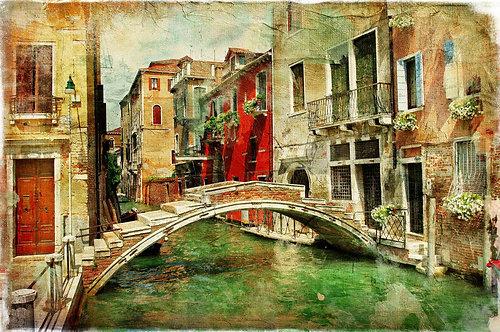 Венецианская улица в живописном стиле