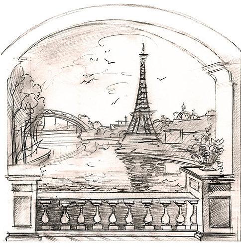 Графический эскиз с ландшафтом и Эйфелевой башней в арке