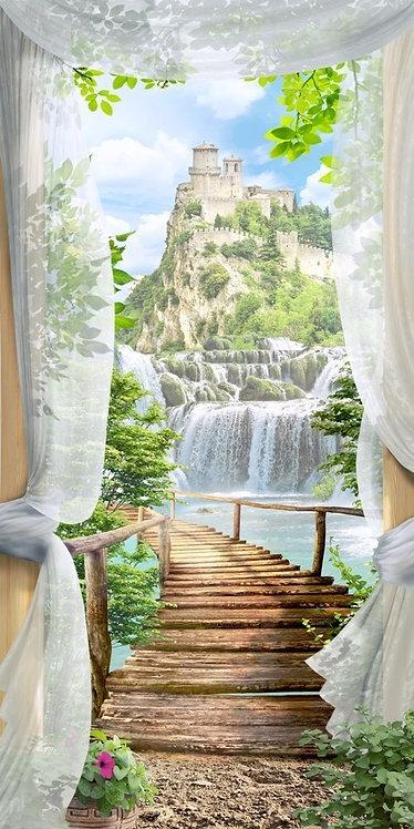 Фреска. Балкон. Цветы. Водопад. Деревянный мост. Старый замок. Горы
