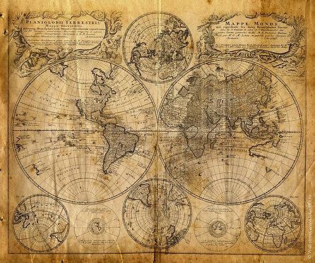 Старинная карта мира с полусферами и полюсами