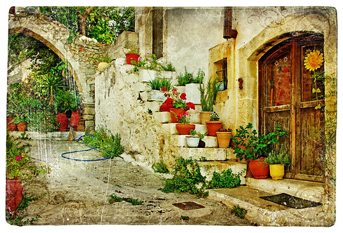 Живописная греческая деревушка в ретро-стиле
