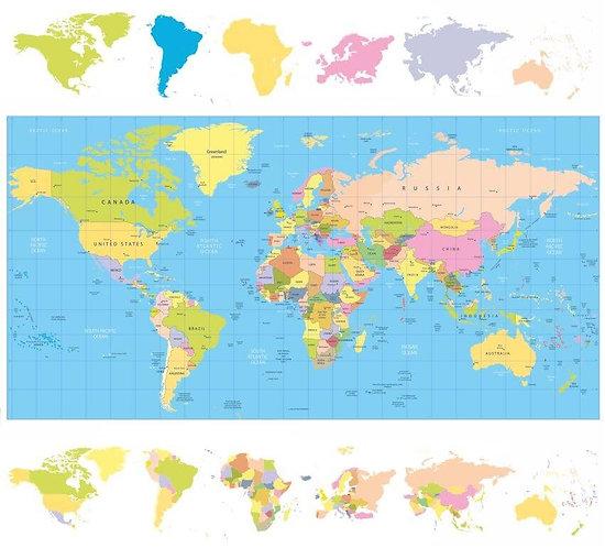 Политическая карта мира с континентами на полях