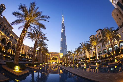 Вид на Дубай и Бурдж-Халифа на заднем плане