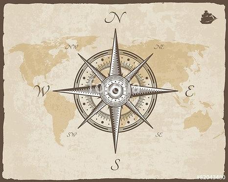 Навигационная звезда на фоне карты мира в ретро-стиле