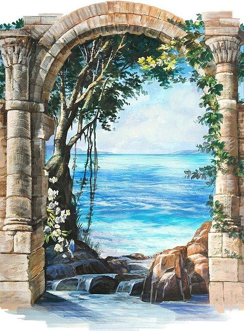 Графический пейзаж с видом на море через арку