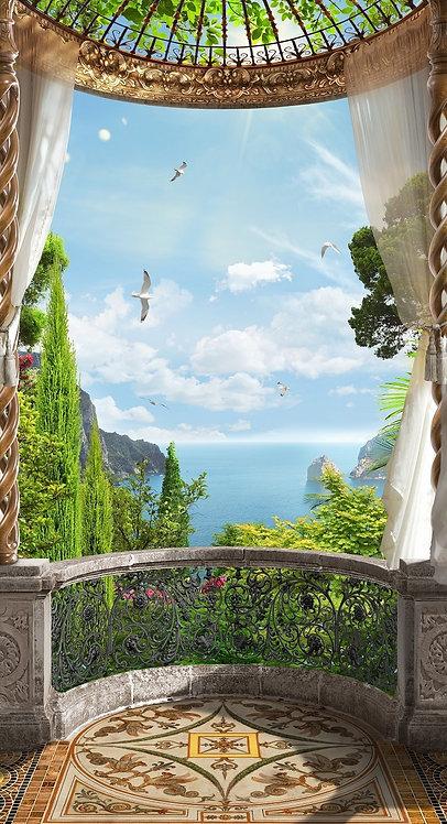 Фреска. Балкон. Терраса. Колонны. Шторы. Цветы. Вид на море. Морской пейзаж