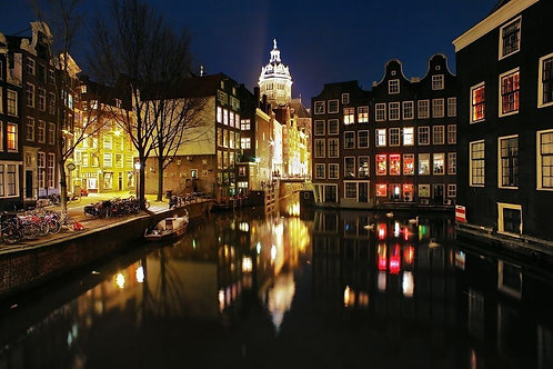 Вечерний вид на каналы Амстердама