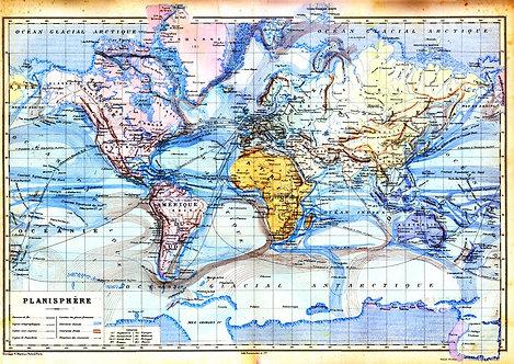 Старинная карта мира с планисферой