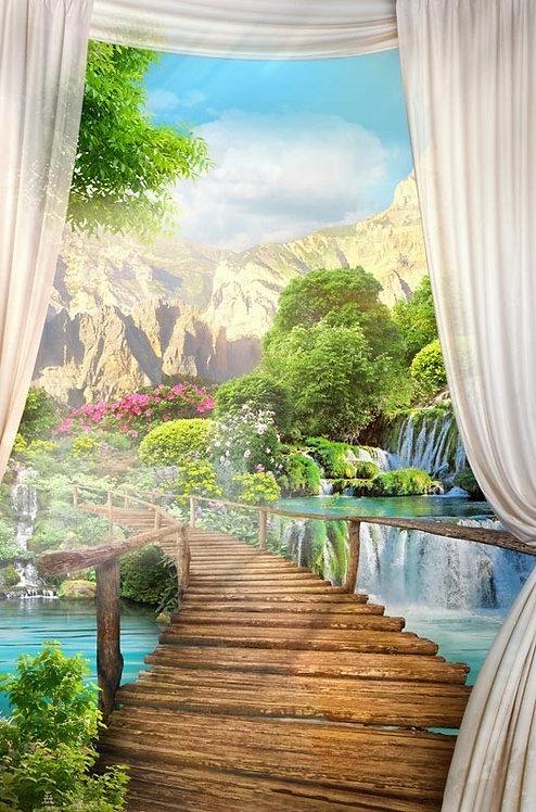 Фреска. Деревянный мост. Вид на водопад и горы