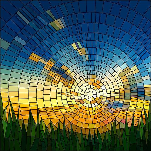 Витражное окно с зеленой травой и закатом в голубом небе
