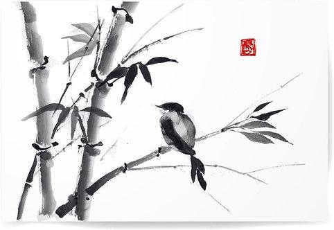 Бамбук и синица на белом фоне в стиле суми
