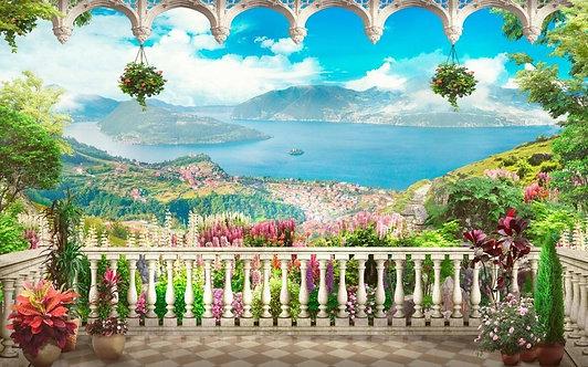 Балкон с видом на горы и море. Графический пейзаж