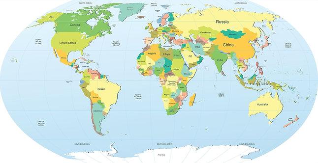 Политическая карта мира с названиями стран