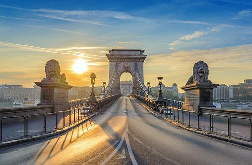 Цепной мост в Будапеште на рассвете - Венгрия