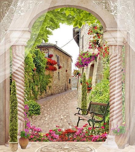 Фреска. Античные колонны, цветы, старый город, шторы и деревья