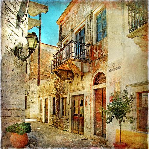 Старая живописная улица в Греции