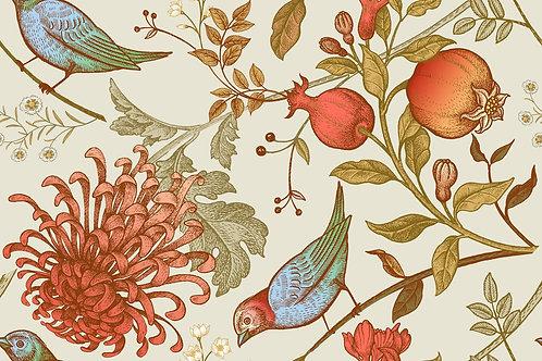 Винтажные японские хризантемы и птицы