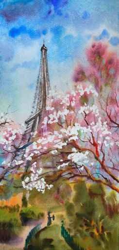 Акварельный пейзаж с цветущей сакурой в Париже