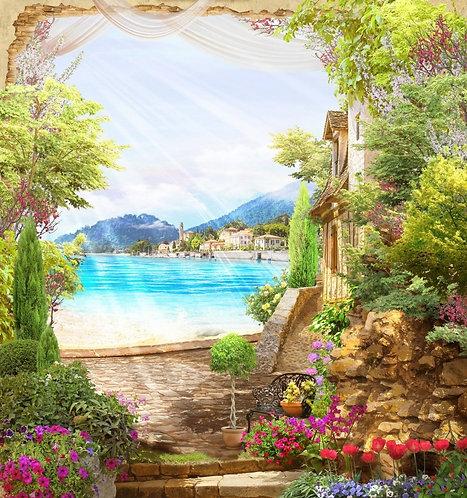 Фотообои. Фрески. Картины. Сад в старом дворике. Цветы. Вид на горное озеро
