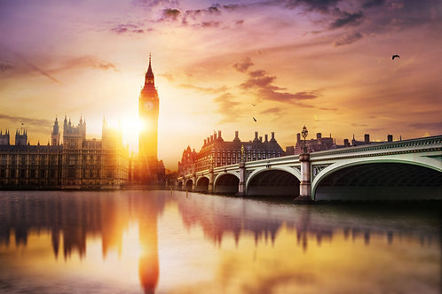 Биг-Бен и Вестминстерский мост в сумерках - Лондон