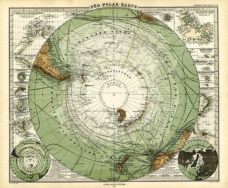 Старинная карта Антарктиды и Южного полюса