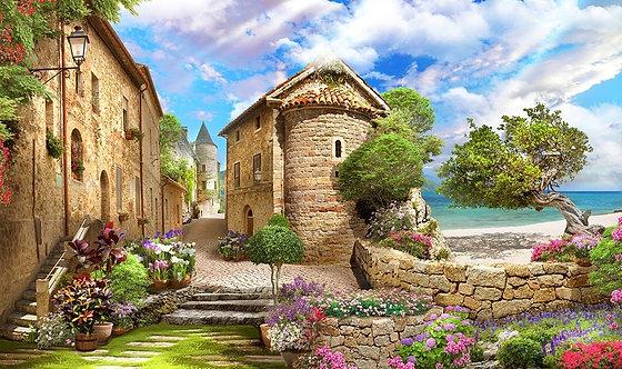 Фотообои. Фрески. Картины. Старая улочка. Лестница. Фонарь. Сад. Цветы