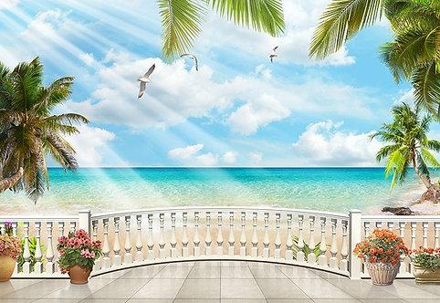 Вид на тропическое море с террасы