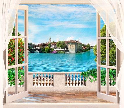 Фреска. Балкон. Балюстрада. Шторы. Цветы. Вид из окна на озеро и старый город