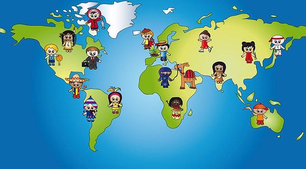 Детская карта мира с жителями разных стран