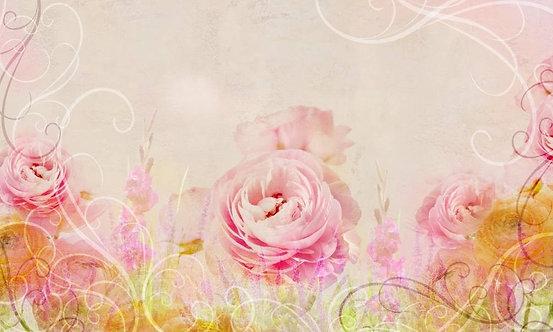 Розовые и персиковые розы в винтажном стиле