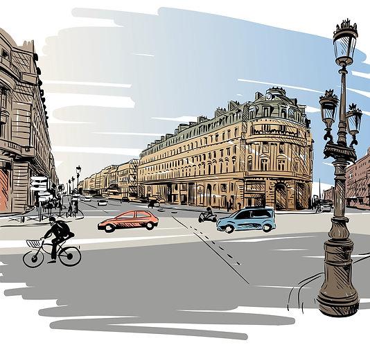 Рисованная улица Парижа